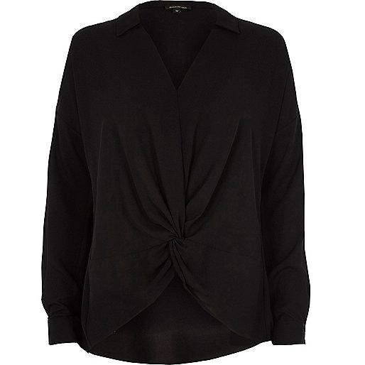 Black knot front blouse