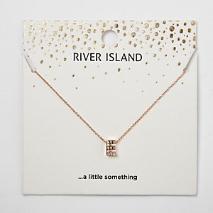 Rose gold tone 'E' initial pendant necklace