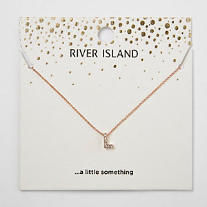 Rose gold initial pendant necklace