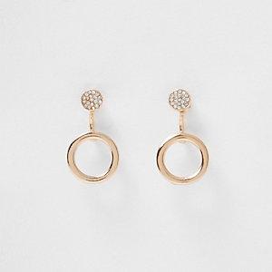 Boucles d'oreilles dorées motif anneau sur les deux faces