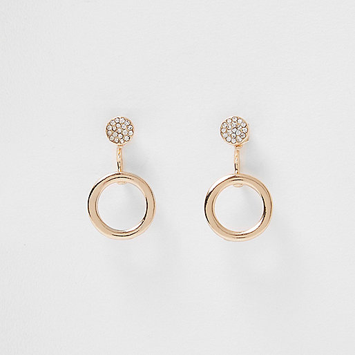 Gold tone circle front and back earrings