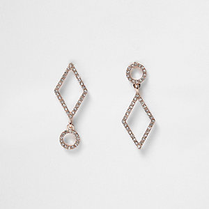 Gold tone asymmetric rhinestone drop earrings