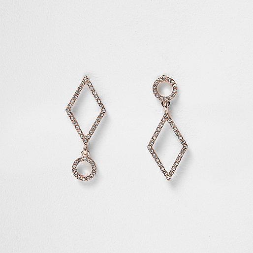Gold tone asymmetric rhinestone drop earrings