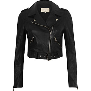 Black leather belted biker jacket