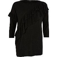 Schwarzer, asymmetrischer Pullover mit Rüschen