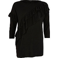 Black asymmetric frill sweater