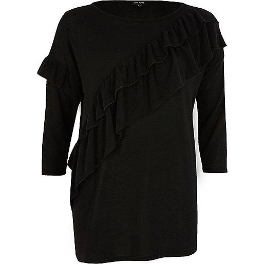 Black asymmetric frill sweater