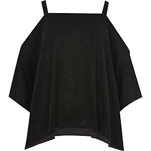 Black knit cold shoulder hanky hem top