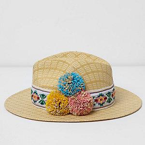 Beige pom pom straw fedora hat