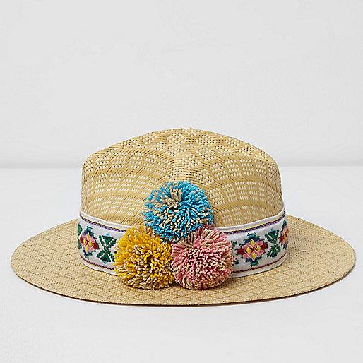 Chapeau fedora en paille beige à pompons
