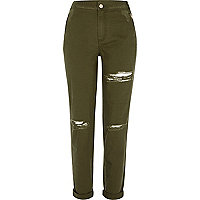 Khaki green ripped tapered trousers