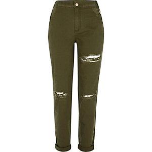 Pantalon fuselé kaki à déchirures