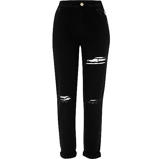 Black ripped tapered trousers
