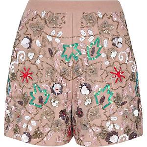 Pink floral sequin embellished shorts