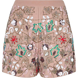 Pink floral sequin embellished shorts