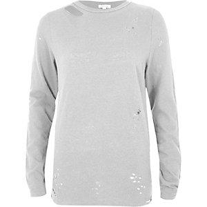Grey washed distressed sweatshirt