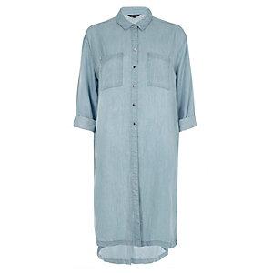 Blue longline denim shirt