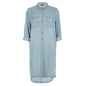 Blue longline denim shirt