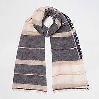 Cream stripe colour block scarf
