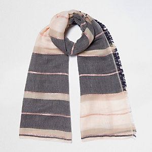 Cream stripe color block scarf