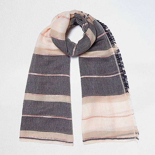 Cream stripe color block scarf