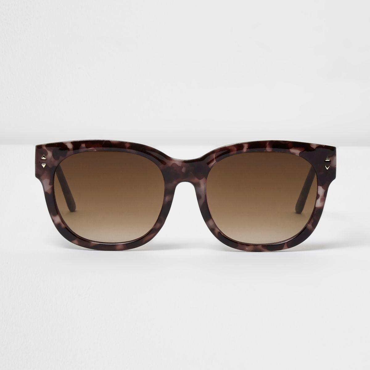 Purple tortoiseshell oversized sunglasses