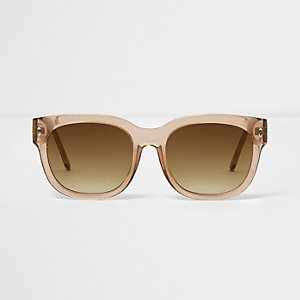 Light brown clear smoke oversized sunglasses