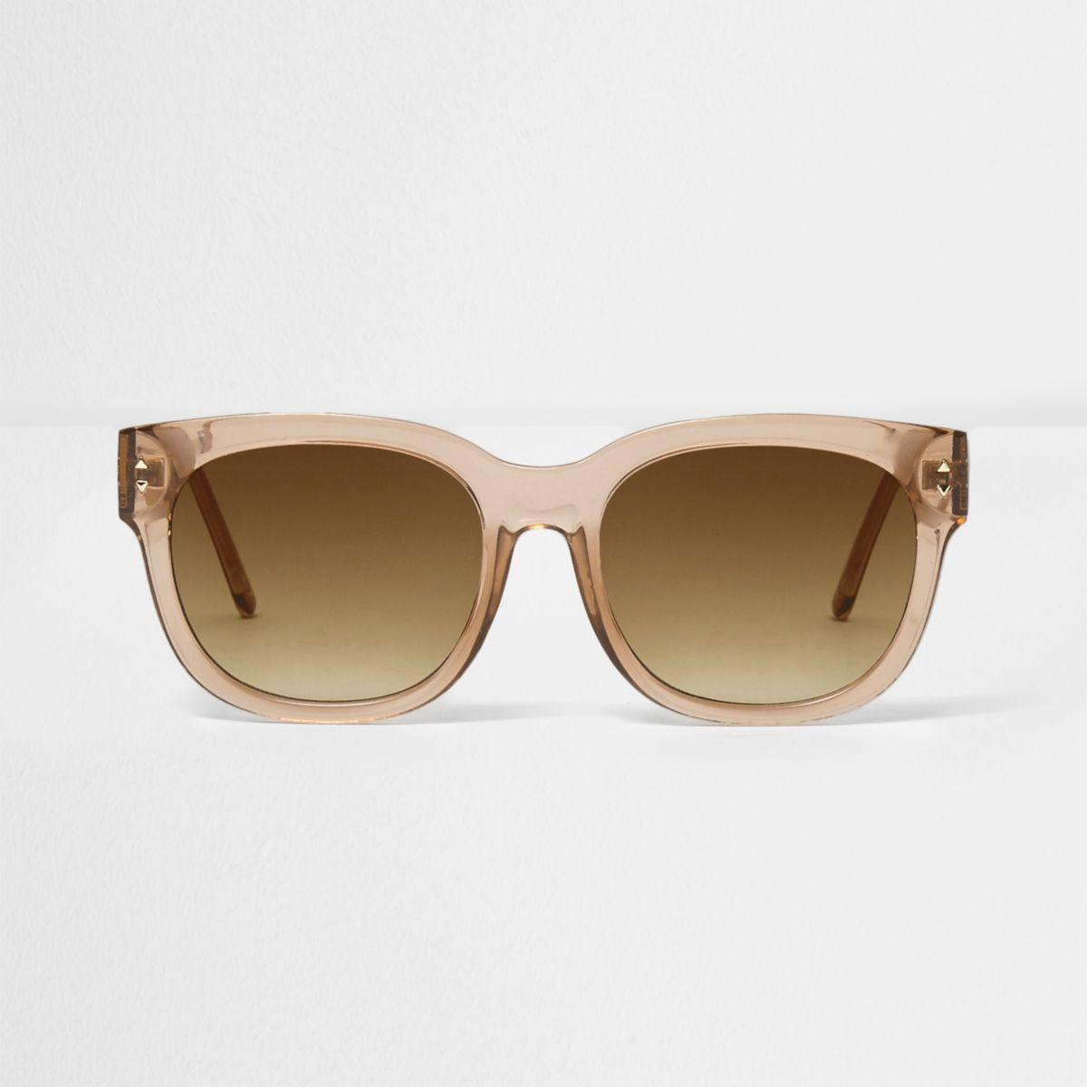 Light brown clear smoke oversized sunglasses