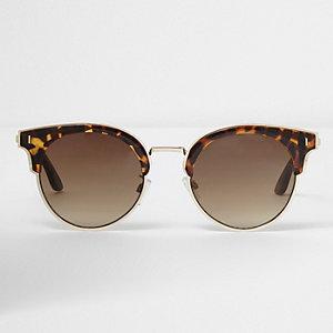Braune große Sonnenbrille mit Schildpatt