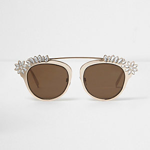 Gold tone embellished brow bar sunglasses