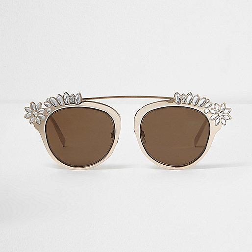 Gold tone embellished brow bar sunglasses