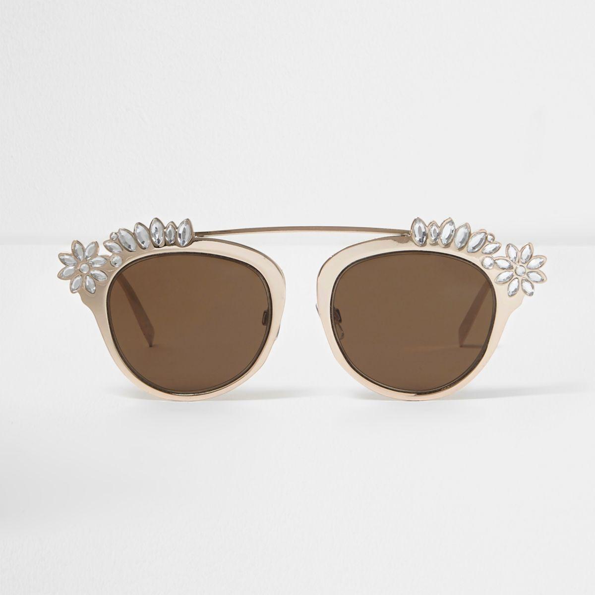 Goudkleurige verfraaide zonnebril met brug