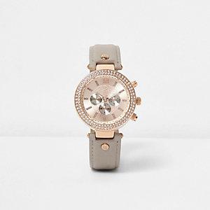Graue, strassverzierte Armbanduhr