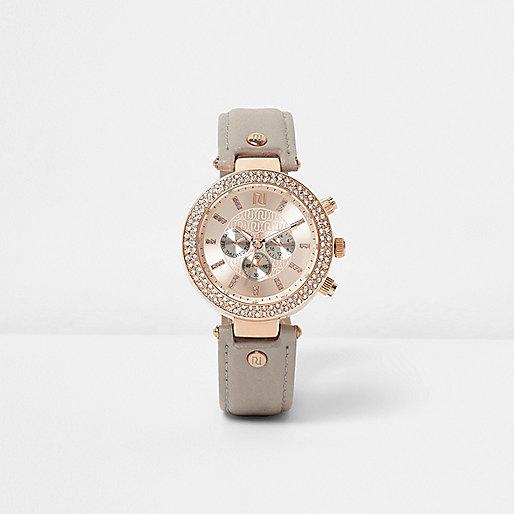 Grey rhinestone embellished watch