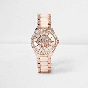 Roségoudkleurig horloge belegd met siersteentjes