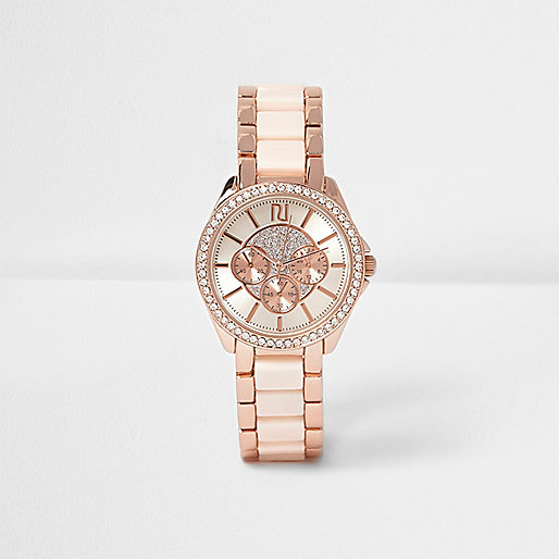 Rose gold tone diamante encrusted watch
