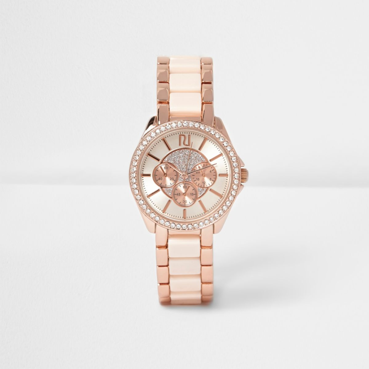 Rose gold tone rhinestone encrusted watch