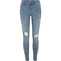 Blue Molly ripped paint splatter skinny jeans