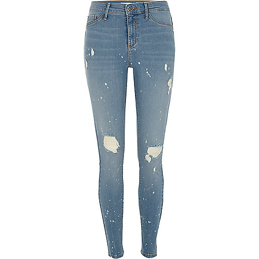 Blue Molly ripped paint splatter skinny jeans