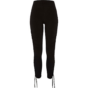 Black ruched drawstring leggings