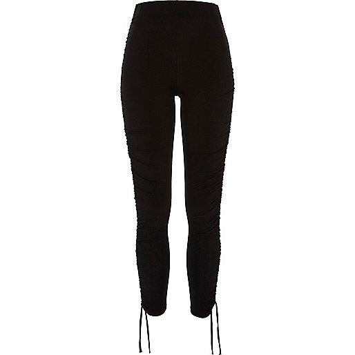 Black ruched drawstring leggings