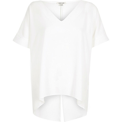 White split back cold shoulder T-shirt