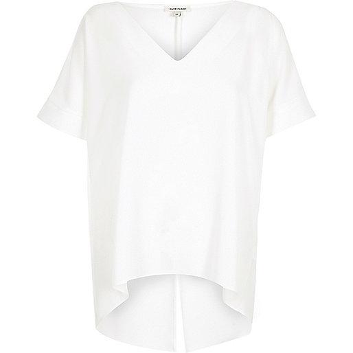 White split back cold shoulder T-shirt