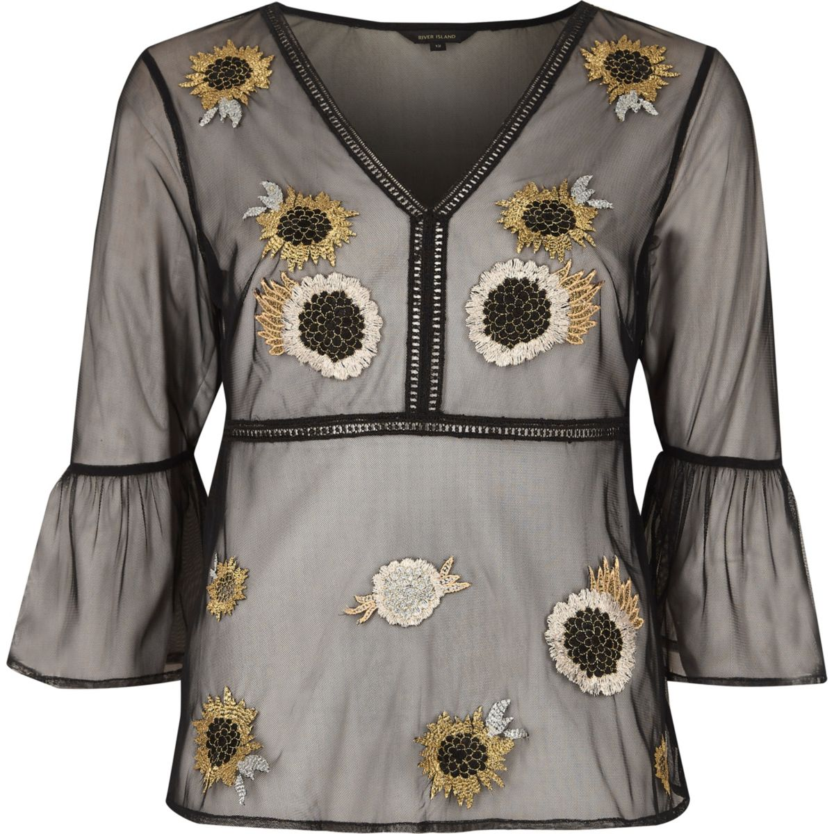Black mesh floral embroidered blouse