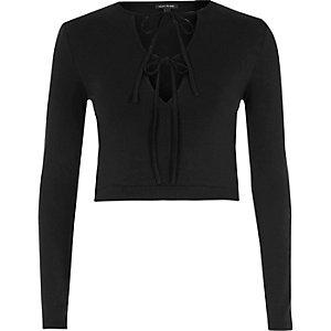 Black tie up front long sleeve crop top