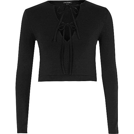 Black tie up front long sleeve crop top