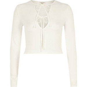 Cream tie up front long sleeve crop top