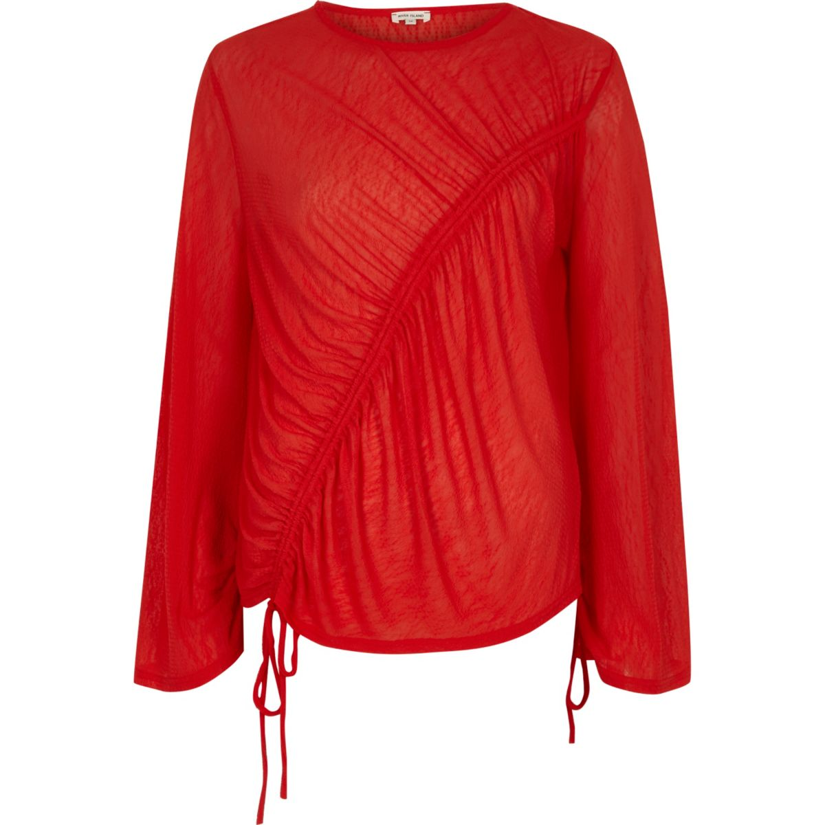 Red asymmetric ruched drawstring top