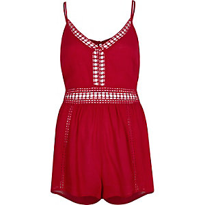 Red ladder lace trim beach playsuit