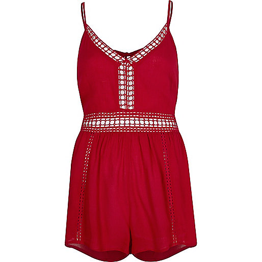 Red ladder lace trim beach romper